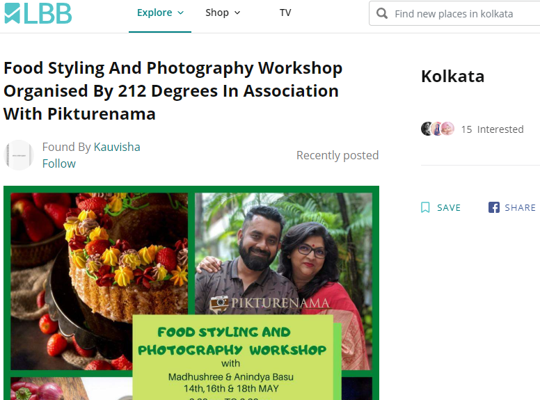 LBB Food photography and styling workshop