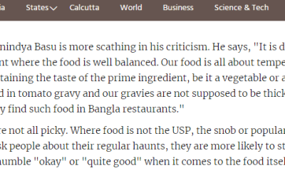 Telegraph – Ghore Baire – on Bengali Food