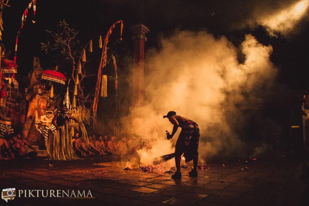 Fire on stage - kecak dance