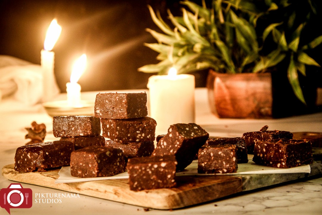 Chocolate Almond Fudge / Chocolate Badam Burfi -1