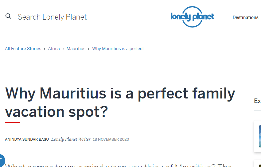 Lonely planet write up on why Mauritius is a family vacation spot