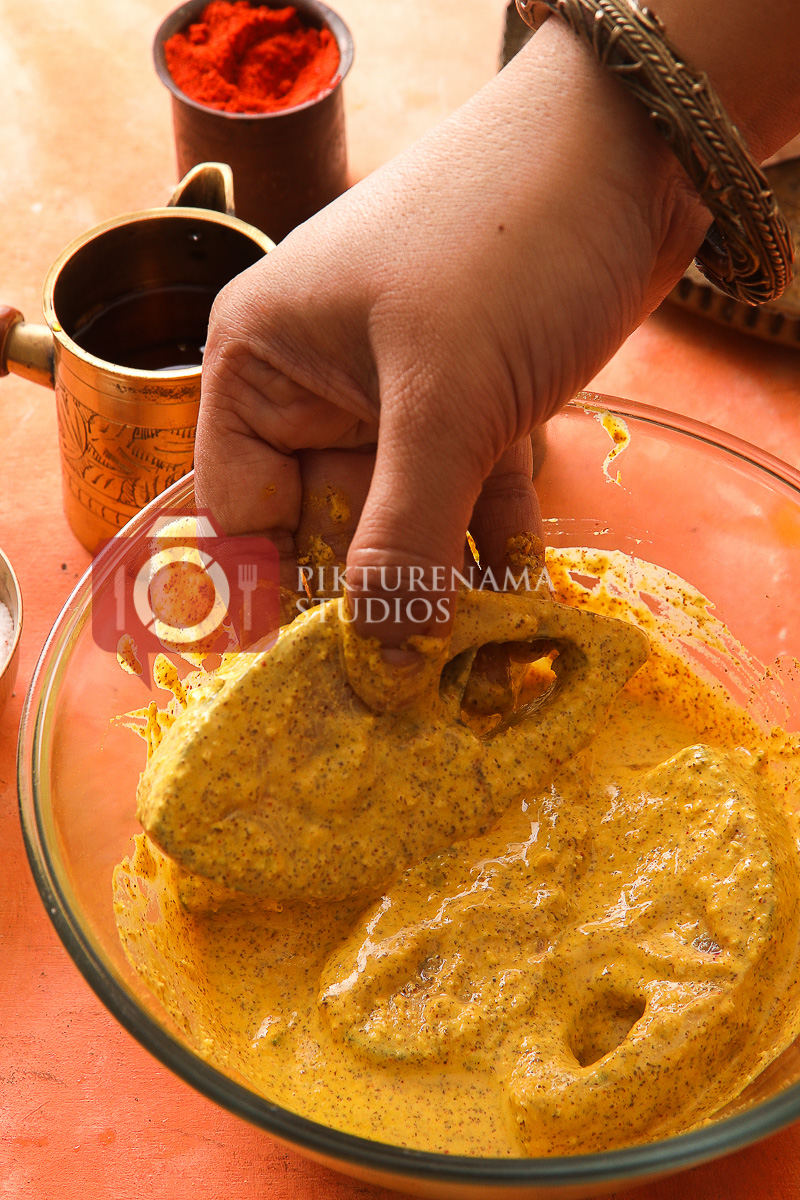 Bhapa Ilish and marination of fish