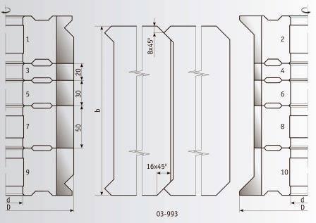 03-993 Комплект фрез 130*32 мм для бруса 100-200 мм