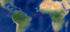 Sailing south from Porto Grande, Cape Verde (yellow star), to the research area along the equator (red rectangle). Blue dot is the ship's current position.