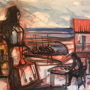 Uviéu. Live painting by Toño Velasco