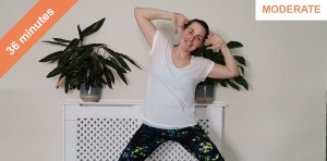 Standing and stretching Pilates
