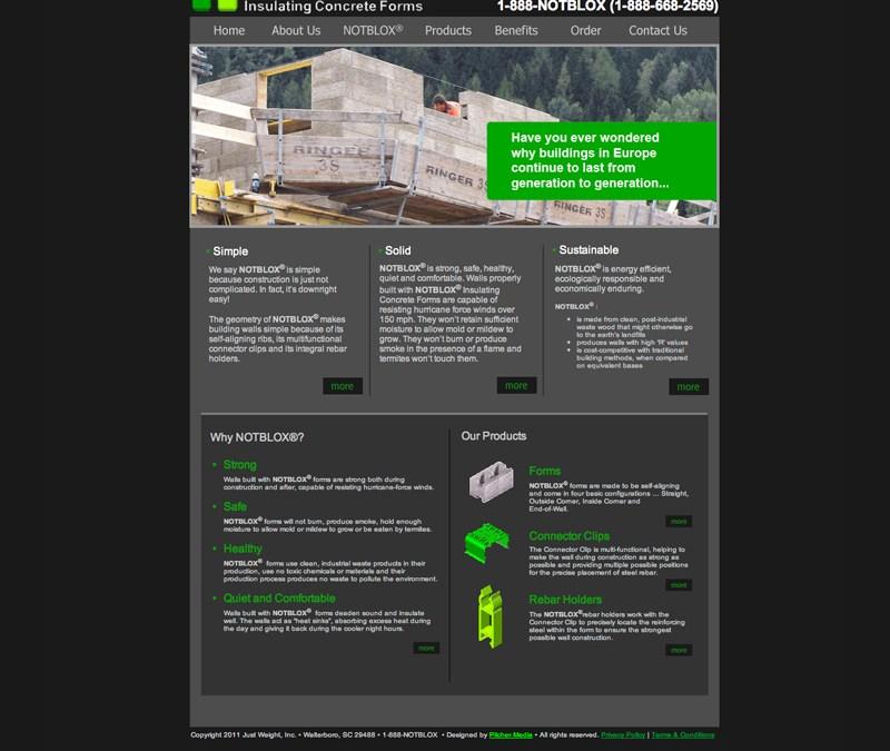 Notblox Concrete Forms Website Design and Development