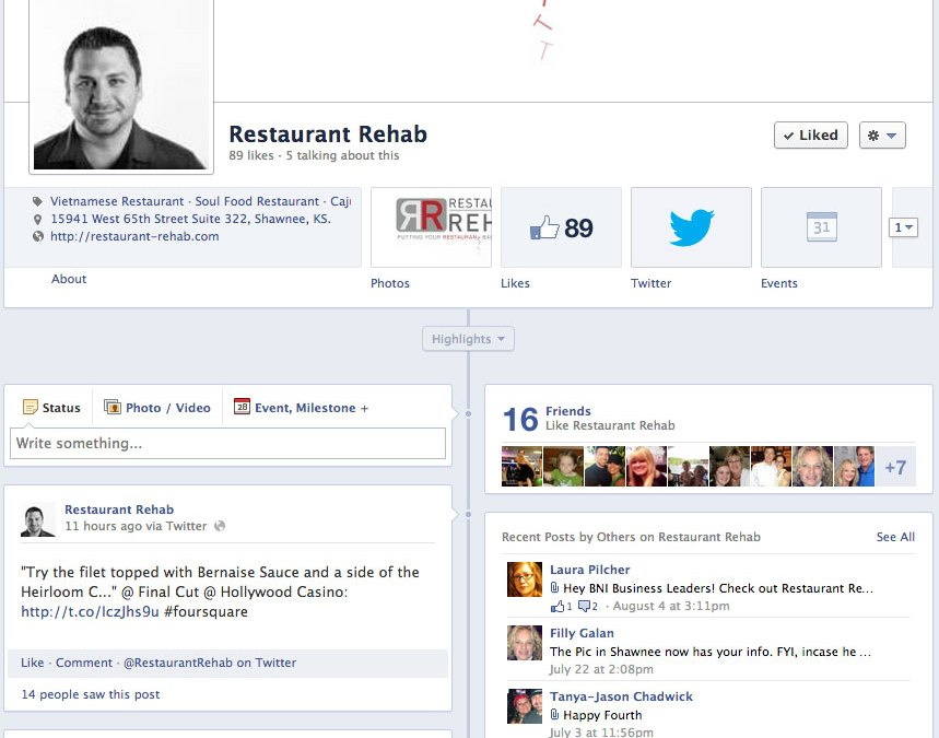 Social Media for Restaurant Rehab based in Kansas City