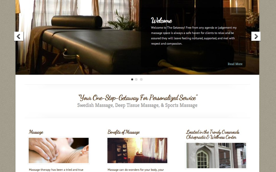 New Website Design for The Getaway Massage Therapist, Ryanne Newton