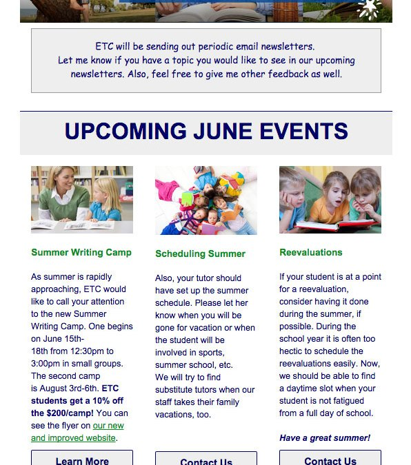 New Email Newsletter Designed for Educational Therapy Center
