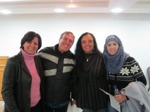 Our speakers with CRS staff from Jerusalem (left; Hanan) and San Antonio (right; )