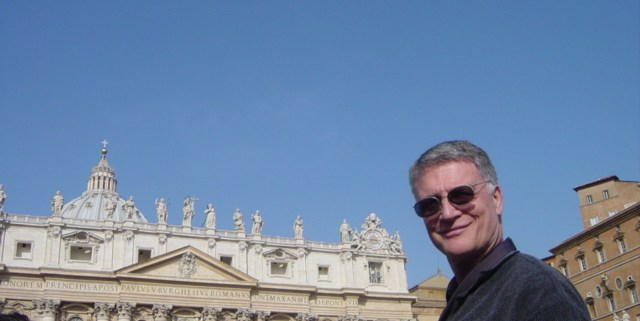 Deacon Tom Fox in front of St Peter's Basilica
