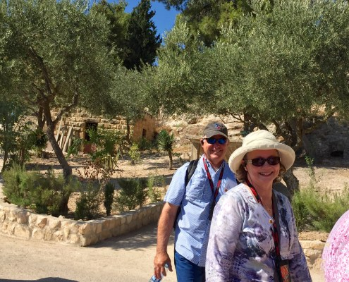 Jimmy and Carmen enjoying the Mount of Olives in Jerusalem