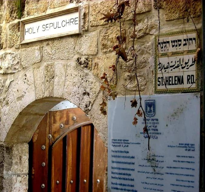 Holy Sepulcher Entrance and Sign