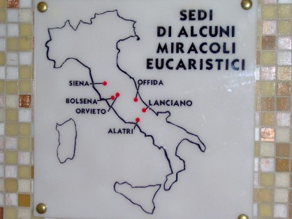 Locations of Eucharistic miracles in Italy