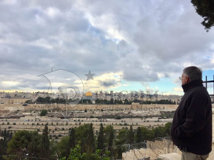 Deacon Tom Fox overlooking Old City from Mt. of Olives