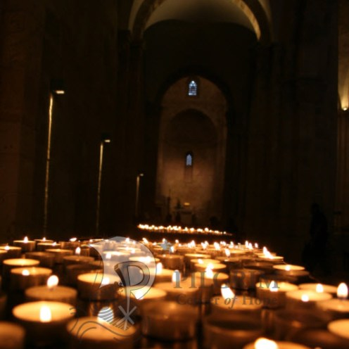 Lit Candles at the Church of St. Anne