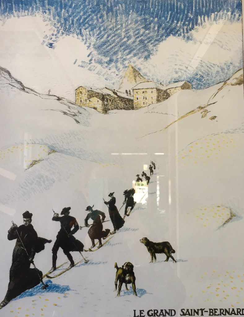 Poster of the monks of St Bernard hospice out to save the lost