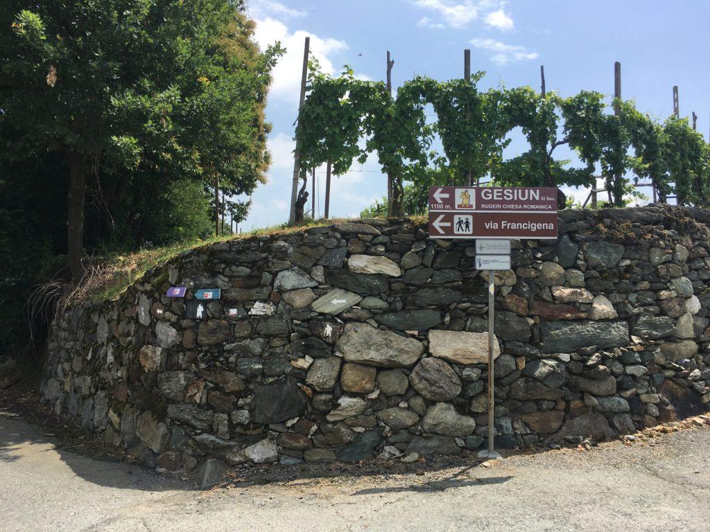 Multiple Via Francigena signs just before Gesiun