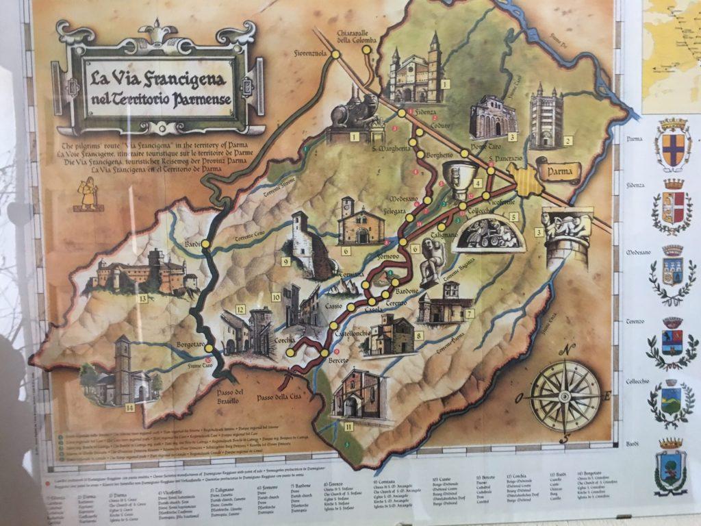 Francigena map in Pontremoli