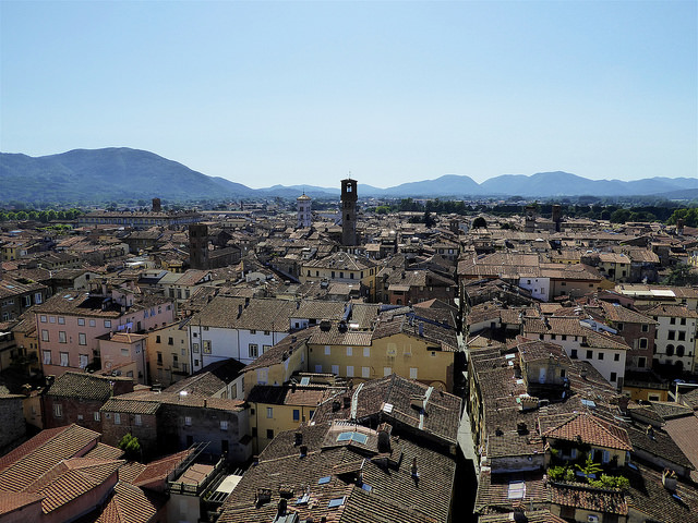Lucca, a view over the city from Guinigi Tower