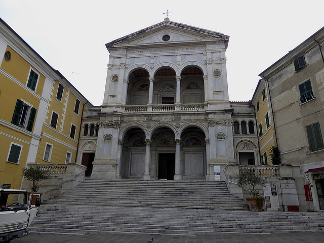 Marble Church façade in Massa whilst passing through this large urban area