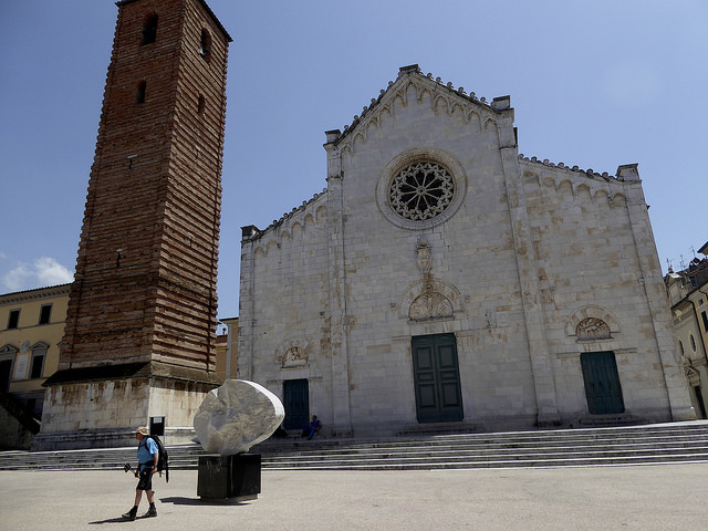 Pitrasanta. Duomo of San Martino with its unfinished bell tower. The end of a days walk by 11.50am to avoid the heat!