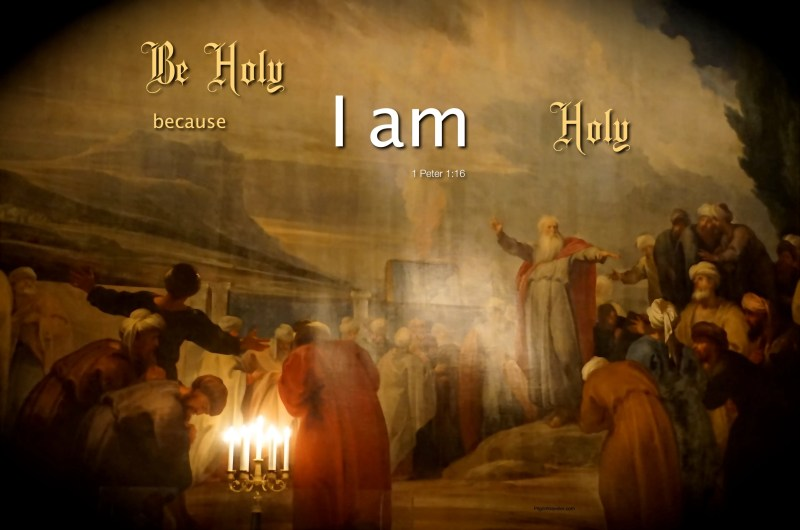 "1 Peter 1:16 For it is written: ""Be Holy because I am Holy."""