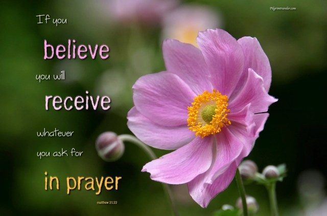 "Matthew 21:22 ""If you believe, you will receive whatever you ask for in prayer."""