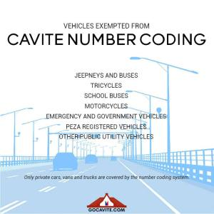 Cavite Number Coding Vehicle exempted