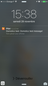 Réception d'un test de réception d'une notification.