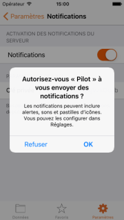 Autoriser l'envoi de notifications PUSH