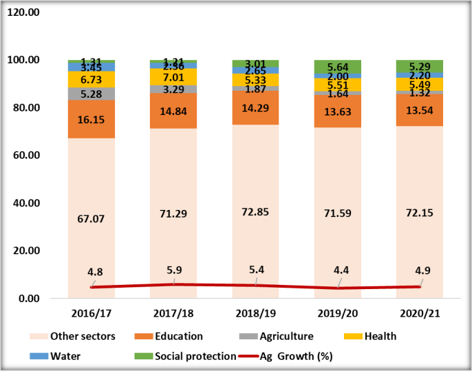 Figure 1: Government Budget Allocation by Sector (%)