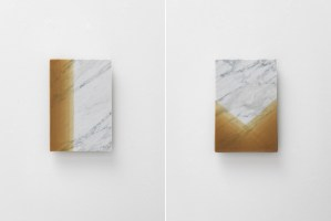 Left: MW13b | Right: MW13c | 2016 | carrara marble, beeswax | 23,5 x 34,5 x 1 cm | Photo © Stefano Tonicello