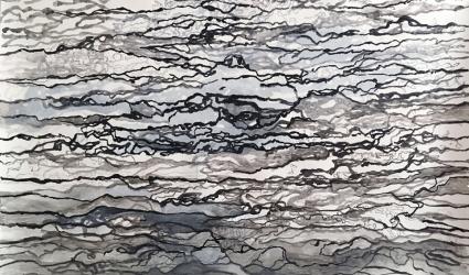 AO 11 (series: 3 Sekunden Atlantischer Ozean) I 2015 I Ink on paper I 110 x 180 cm I Photo © S. Blaas