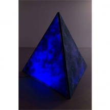 SELKET CHLUPKA: Crystal Palace, 2017, Installation: triangular frame covered with dyed fabric, neon lights, pine cones © Selket Chlupka