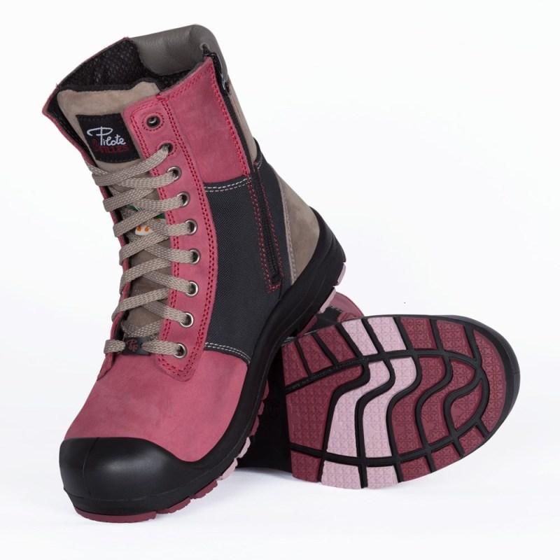 Bottes de sécurité à cap d'acier pour femme de couleur rose et noire