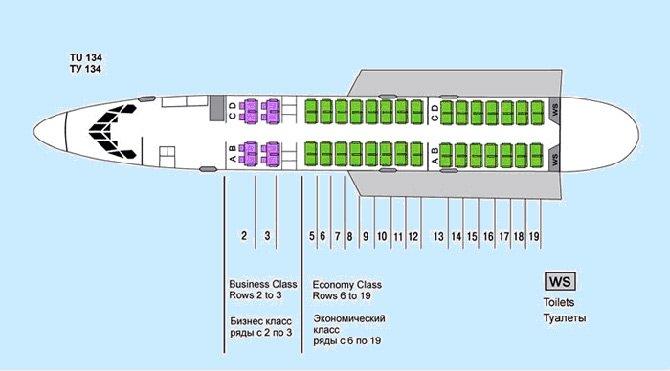 Салон Ту-134 лучшие места