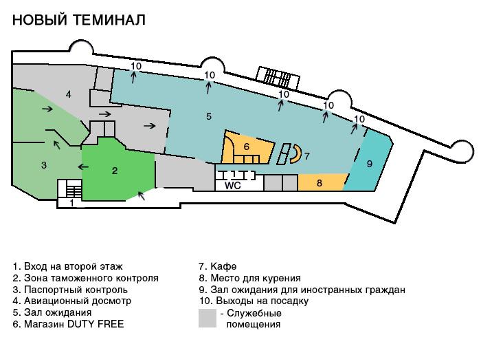 Схема аэропорта Храброво новый терминал