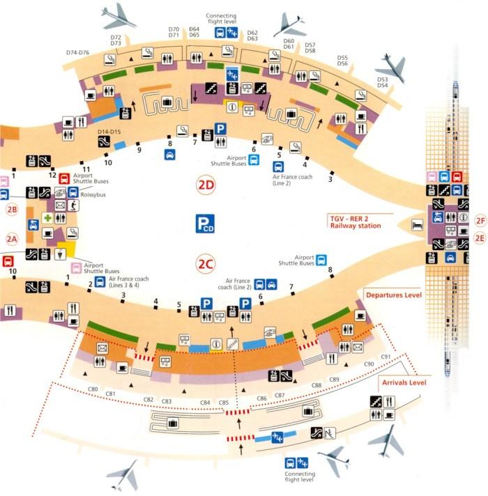 Схема терминала 2с Шарль де голль