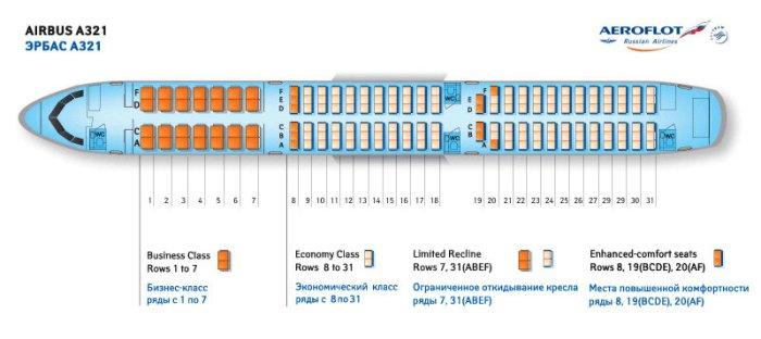 Airbus A321 схема салона