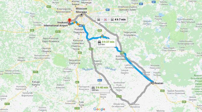 Из города Рязань во Внуково