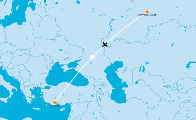Карта Екатеринбург Анталья
