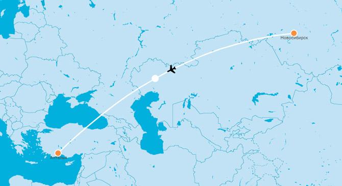 Карта Новосибирск Анталья