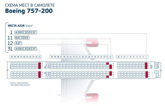 Схема салона Боинг 757-200