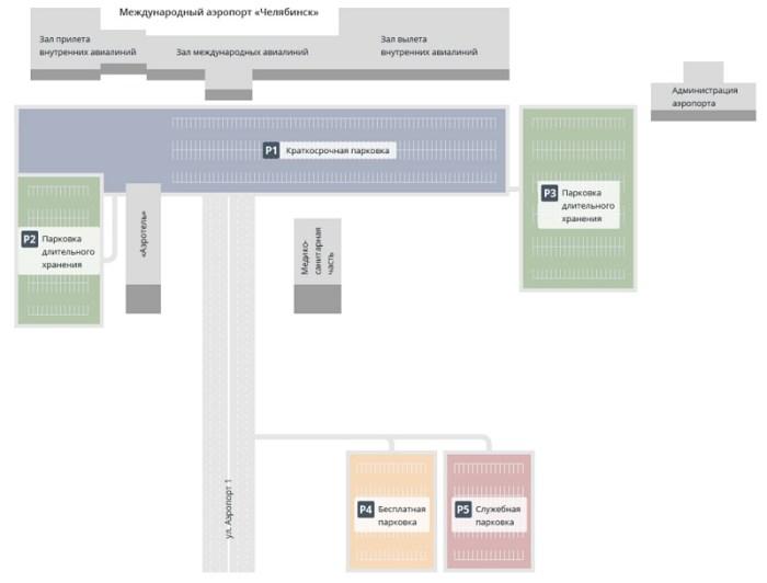 Схема терминалов аэропорта Челябинск