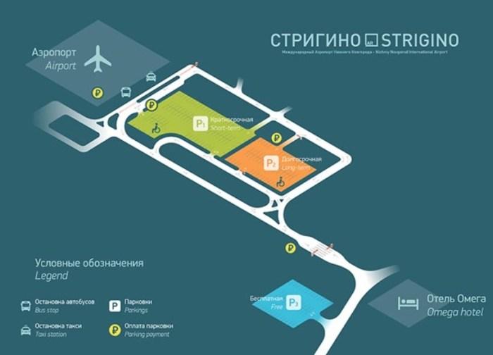 Схема парковок аэропорт Стригино