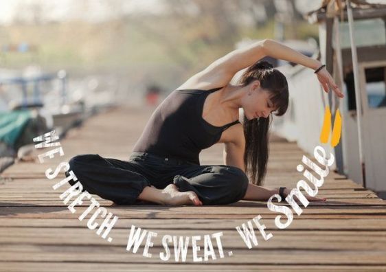 We stretch. We sweat. We smile. #motivation #inspiration #fitness #health #run #running #yoga {PilotingPaperAirplanes.com}
