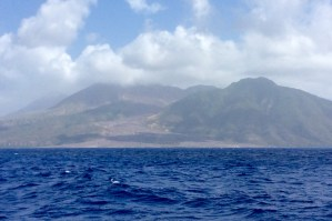 Cruising past the active volcano in Montserrat