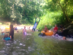 Fun on the rope swing after tubing down the river